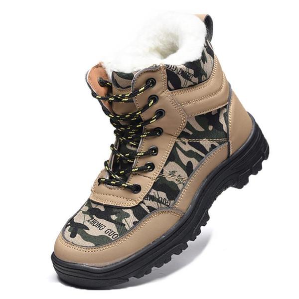 Homens Ao Ar Livre À Prova D 'Água Botas de Neve de Inverno Quente Anti-Slip Segurança Do Trabalho Botas De Dedo Do Pé de Aço Caminhadas de Pesca de Neve Sapatos de Caminhada Plus Size