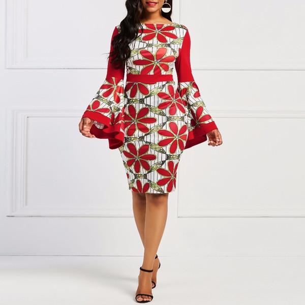 Festa da noite Mulheres Primavera Do Vintage Da Margarida Floral Plissado Vermelho Bodycon Vestido Desgaste do Trabalho Africano Plus Size Data Skinny Vestidos C19041501