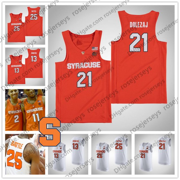 NCAA Syracuse Orange #21 Marek Dolezaj 13 Paschal Chukwu 33 Elijah Hughes 35 Buddy Boeheim white Stitched College Basketball Jerseys S-4XL