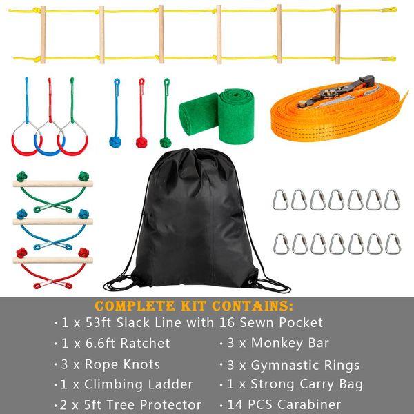 Ninja Slackline Bar Kit Outdoor Tree Hanging Obstacles Line Accessories Play Set Ladder Gymnastics Rings Horizontal Bars US Stock