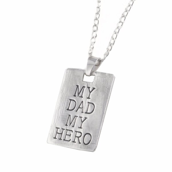 2019 Hot Sale Father's Day Gift My Dad My Hero Letter Combine Necklace For Dad Pendeloque Alloy Necklace Pendant For Father