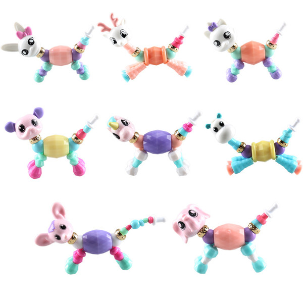 20 unids love Spirit Variable shape pet pulsera de resina deformación animal beads bracelet para niños Niños B0166