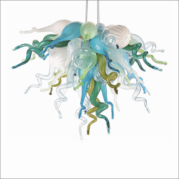 contemporary handmade blown glass chandelier lighting tiffany style 100% mouth blown glass with 110v-240v led bulbs