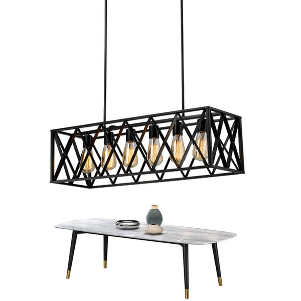 Rectangle Vintage Pendant Light For Dining Room Black Industrial Hanging Lighting Fixture Brief Style LED Bar Lamps