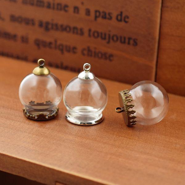 Fashion Jewelry Pendants 10set 20*15mm hollow globe with setting base beads cap set orb glass vials pendant glass bottle jewelry pendant