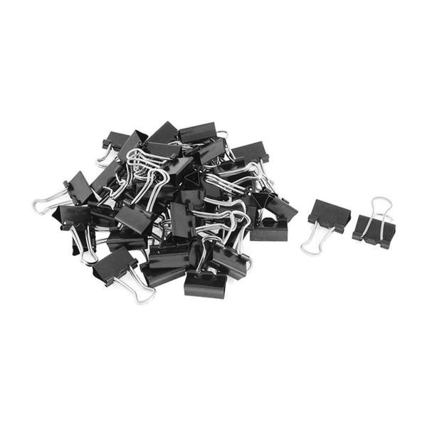 Carpetas de resorte de metal Clip para papel Papel de oficina Papelería clips 15 mm 48 piezas Negro