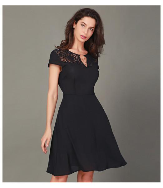 2019V col en mousseline de soie femmes robe en dentelle couture manches courtes mince femme mûre robe été élégante simple robe casual jupe sexy