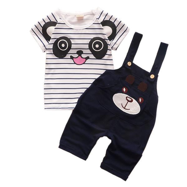 good quality Baby boy clothing set 2019 new infant summer cartoon panda short sleeve T-shirt+bib pants 2pcs set toddler Striped suit