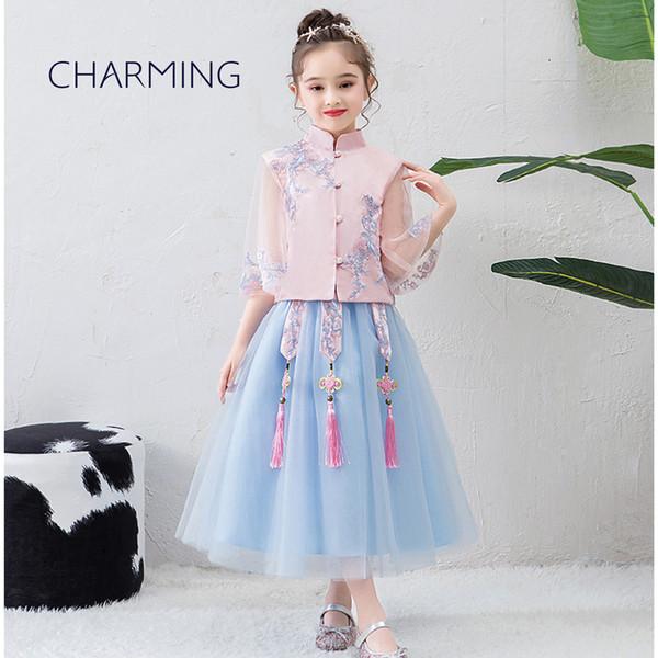 Compre Fiesta De Niñas Vestidos Largos Vestidos Bonitos Para Niñas Vestidos De Flores De Encaje Niña Vestido Estilo Chino Para Niños A 4623 Del