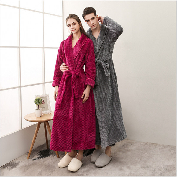 2018 Winter Women Casual Bathrobe Couples Soft Beryl Robes Female Long Sleeve Turn-down collar Bathrobe Ladies Warm xxl