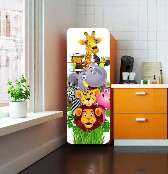 Fridge Wrap /Cartoon Animals /Kid/Removable Self Adhesive Vinyl /Peel and Stick Decal Wallpaper