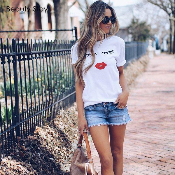 Beauty Stay White O-neck Short Sleeve Eye Lashes Red Lips Printing Girl T-shirt Harajuku Casual Cotton Summer Women T-shirt