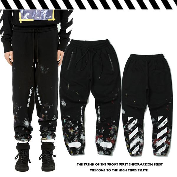 Pantalones Otoño e invierno Tinta de salpicadura Graffiti Rayas diagonales Pantalones de diseño Hombre Street Plus Pantalones deportivos de terciopelo cálido
