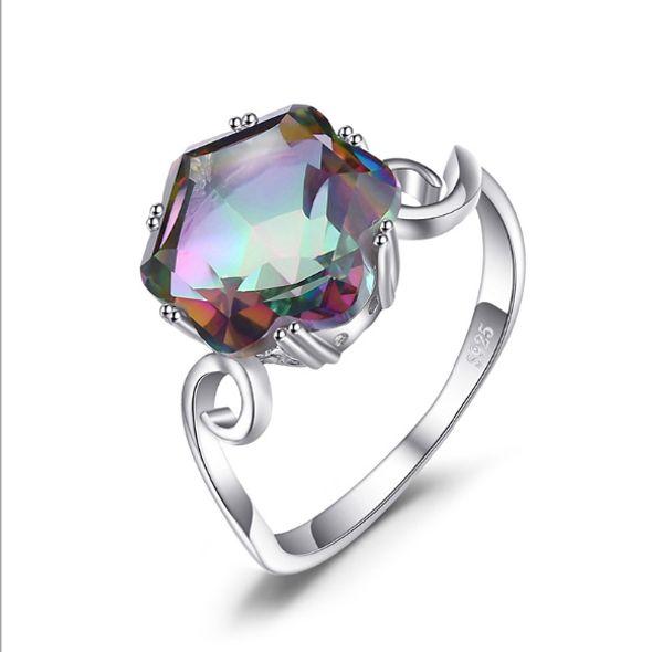 3.2ct Genuino Rainbow Fire Mystic Topaz Anillo Sólido 925 Joyas de Plata Conjuntos de anillos Regalos Mujer Nueva venta