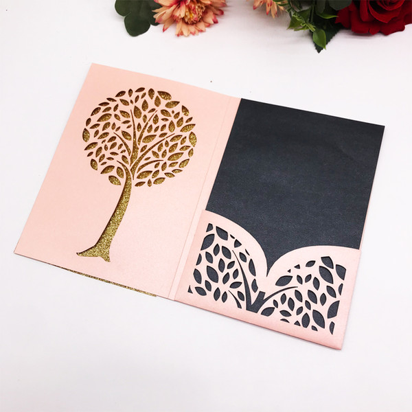 Hollow Laser Cut Tri Folding Type Simple Wedding Invitation Card Earth Day Party Events Supplies Invitation Cards Gifts Card For Friends Printing