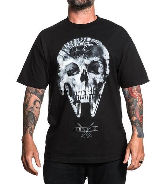 Sullen Pin Up Punk Street Bike Gothic Americana Tattoo Art Mens Tee POCH BADGE