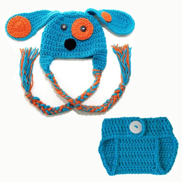 Nouveauté nouveau-né chiot tenue, tricoté à la main au Crochet bébé garçon fille Doggy Hat et couche couverture Set, Costume Animal Infant