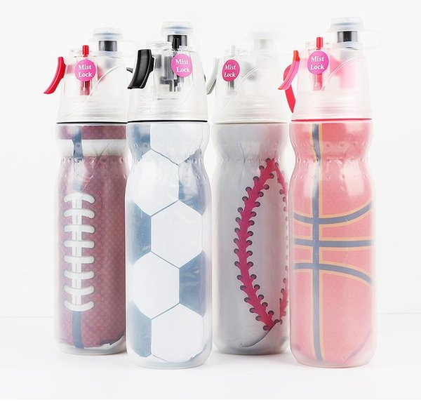 2019 590ml Portable Mist Spray Water Bottle Sports Summer Cooling Outdoor Travel Fitness Hiking camping Cycling plastic spray cup