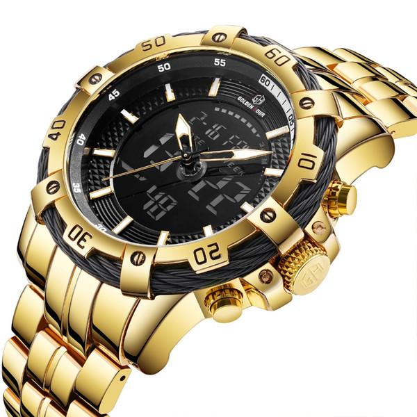 HORA DE ORO Moda Reloj de cuarzo de doble hora Hombres Reloj digital Calendario Multifunción Correa de acero inoxidable Reloj de pulsera