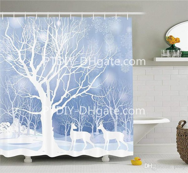 Silhouettes of Deer in Snowy Forest with Blizzards Surreal Dreamy Theme Fabric Bathroom Decor Set