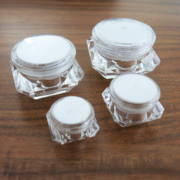 50 X 5g 10g 15g 30g plastic jar clear plastic pot for nail art glitters mini small make up cream cosmetic container