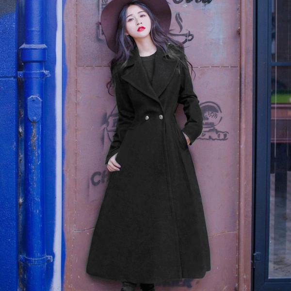 Rabattu Long Veste Femmes Noir De Acheter Mélange 53 Automne Col Manteau103 com Vintage Slim BaiqianDhgate Hiver Laine Du 2019 En XZOTukiP