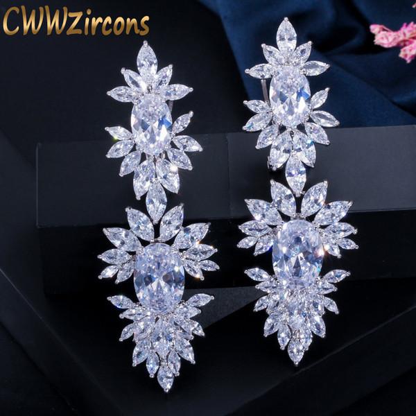 Cwwzircons Luxurious Clear Cubic Zircon Stone Setting Long Wedding Drop Dangle Earrings With Marquise Shape Zirconia Cz322 SH190725