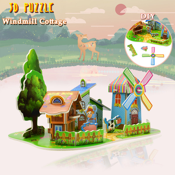 best selling 3D Puzzles Toys Windmill Cottage DIY Cardboard House Building Model Kits Educational Toys for Kids Creative Gift Desktop Home Decoration