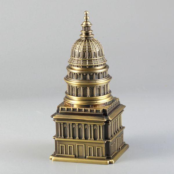 Porta stuzzicadenti in metallo Scatole stuzzicadenti Casa bianca Orologio a torre Chiesa Ornamenti di design Statua di edificio antico