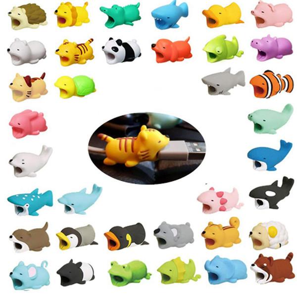 Mordida Cabo quente 36 estilos cabo de mordida animal Protector Acessório cabo de brinquedo mordidas cão porco elefante axolotl para smartphone iPhone cabo Carregador