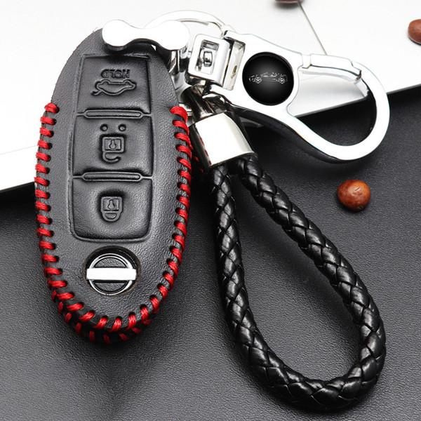 Custodia portachiavi in pelle per portachiavi auto Portachiavi Cover portachiavi a distanza per borsa portachiavi Nissan Smart Remote Fob Cover