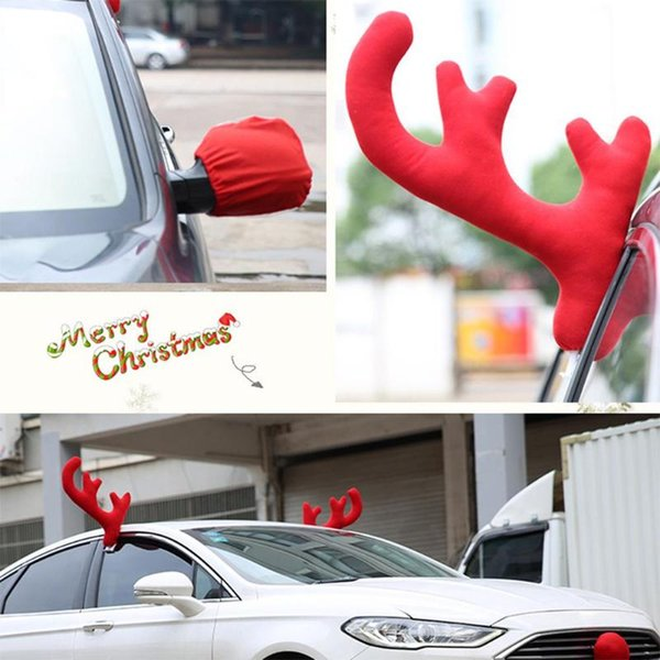 3pcs/Set Christmas Reindeer Antlers Car Costume Car Truck Costume Decor Antlers Red Nose Xmas Set Christmas Decorations for Home
