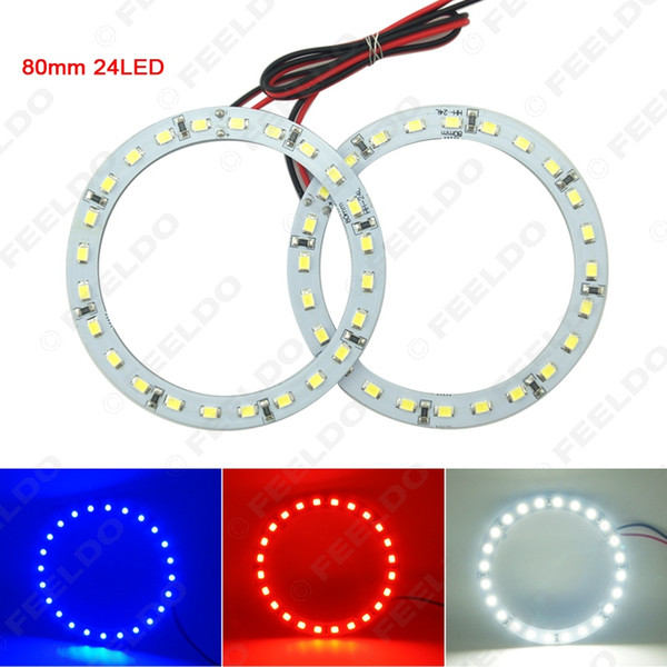 2pcs/lot 80mm Car Angel Eyes 1210/3528 24SMD LED Headlight Halo Ring Angel Eye Lighting White Red Blue #2668