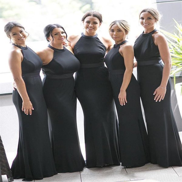 Country Black Bridesmaid Dresses 2020 New Mermaid Halter Neck Sleeveless Gothic Country Forest Wedding Guest Dress