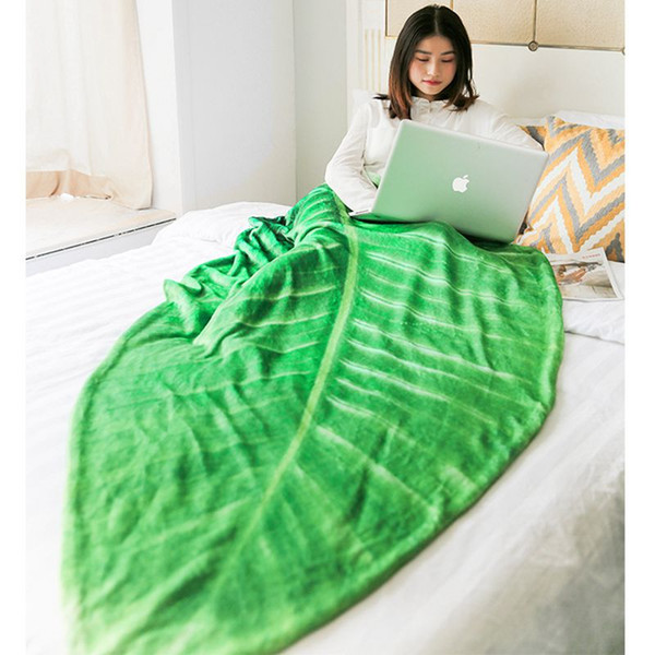 Green Leaf Design Throw Nap Blanket Soft Flannel Throws For Sofa Bed Chair  Summer Couch Bed Cover Travel Camping Blankets Fuzzy Blankets For Sale ...