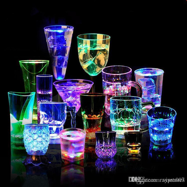 LED Glowing Wine Water liquid Inductive Light-up bar Party shine cup KTV Nightclub Flashing Cup for home decor party decoration