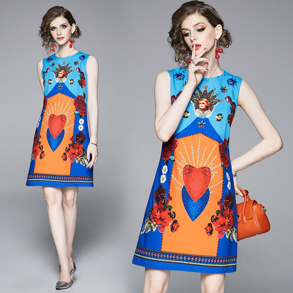 New 2019 Summer Runway Vintage Print O Neck Sexy Sleeveless Women Ladies Casual Party Beach Luxury A-line Mini Vest Shift Dress