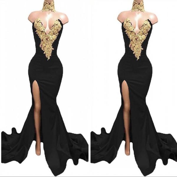 officesupply / Preto longo Dividir Prom Dresses 2020 formal do partido Evening Pageant Vestidos Vestido Africano alta Neck Sereia Plus Size Custom Made