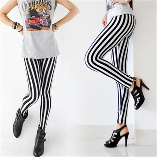 Женщины Sexy Новая Леди Мода Тощий Chic Смотри Вертикальная поножи Черный и белый Spandex Zebra Stripe штаны Hot Hot Item
