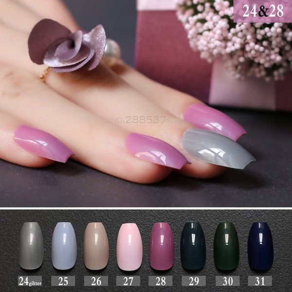 New Hot False Coffin Nails Rose Soft Pink Nude Red Brown Blue Fake Ballerinas Nail Designs Pure Colour Candy Purple White