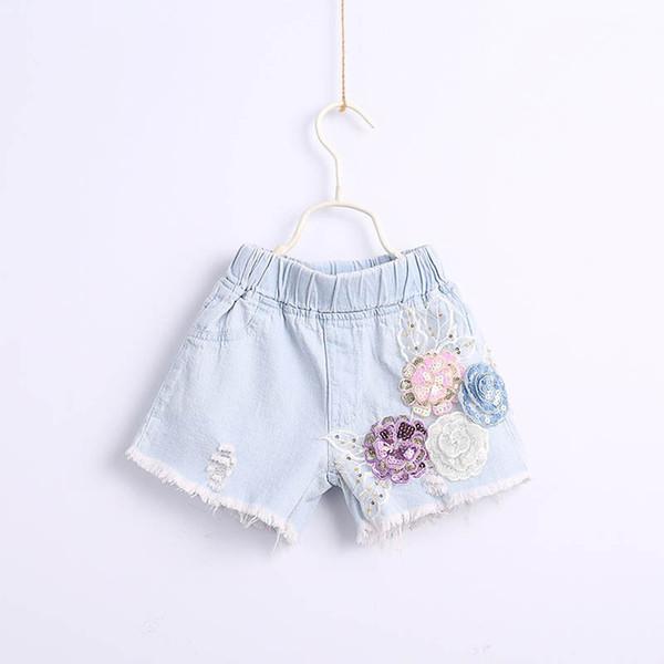 kids summer clothes girls Shorts 3D Flower kids Jean Shorts Boutique sequin girls pants kids designer clothes girls jeans A5264
