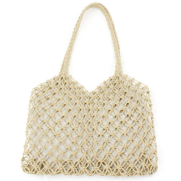 New Hand-Woven Hollowwork Straw Bag Paper Rope Grid Without Lining Woven Beach Bag(Beige)