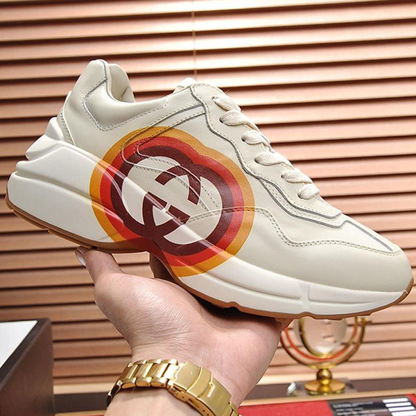 top popular 2020 Mens Shoes Casual Style Flats Platform Breathable Casual Fashion Comfortable Round Toe Mens Shoes Tenis Casual Rhyton Leather Sneaker 2019