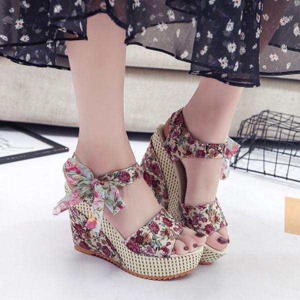 2019 Summer Printing Women Sandals Female Thick Female Sandals High Heels Casual Waterproof Platform Wedge Female Shoes 01-03