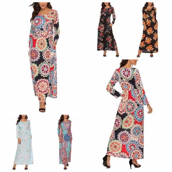 best selling Floral Flowers Dresses Women Maxi Bohemia Party Print Long Sleeve Dress Holiday Casual Dresses Pockets Vintage Dress LJJA3399-3
