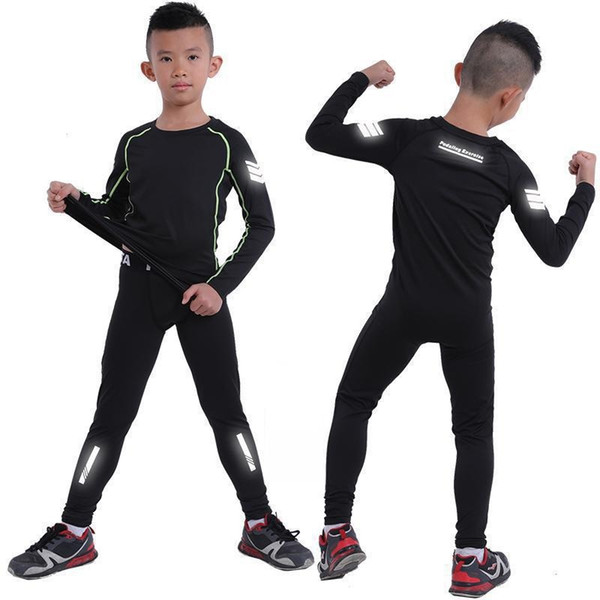 kids Running tight suits boys Compression shirts Leggings Fitness Jogging Trousers children Sport Training Gym basketball sets #290194
