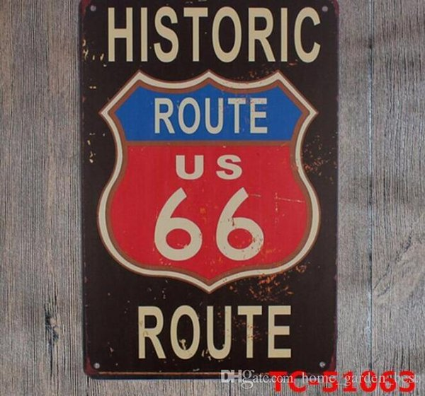 Route 66 Vintage Car Style Tin Sign Art Painting Bar Pub Garage Hotel House Wall Decor Metal Poster