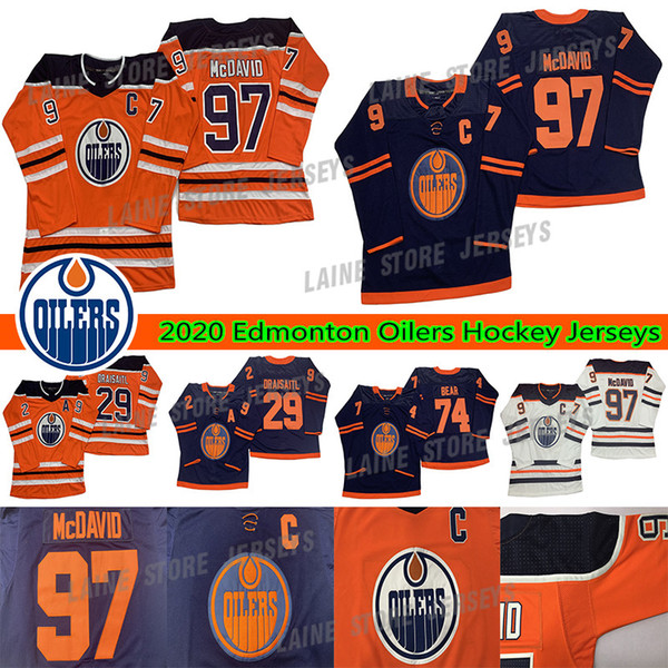 best selling Edmonton Oilers Jerseys 97 Connor McDavid 74 Ethan Bear 29 Leon Draisaitl 99 Wayne Gretzky Adult Size S-3XL All Stitched Hockey Jerseys