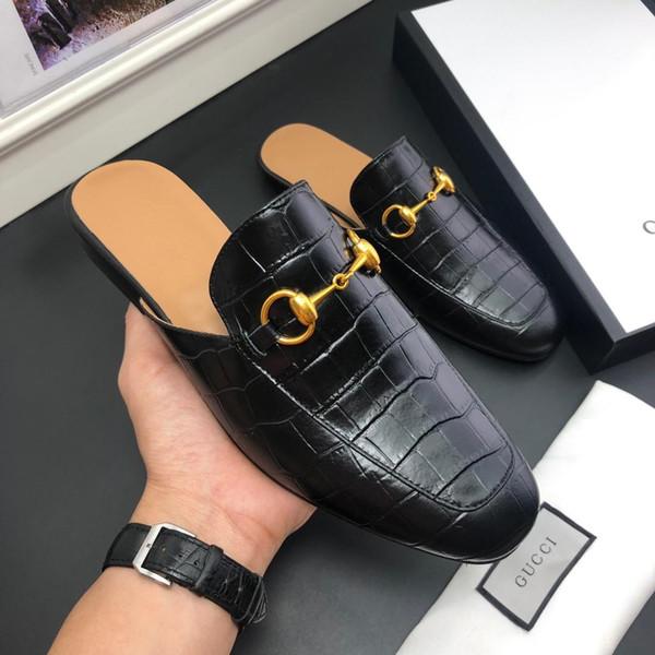 Luxury leather loafer muller de igner lipper men hoe with brand buckle fa hion men princetown lipper ladie ca ual mule flat