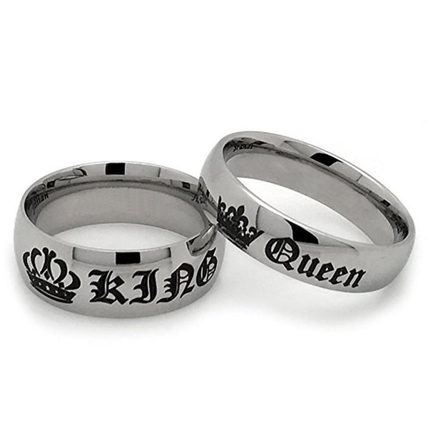 Ring Unisex Gothic Hot Sale Vintage Fashion Crown Letter King Queen Design Jewelry Punk Rock Gift Accessories Couple Rings Cheap